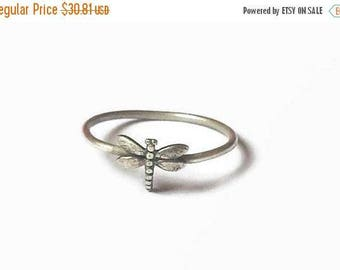 SALE Dragonfly dainty ring, sterling silver, dainty ring, dragon fly ring, staking ring, stackable ring