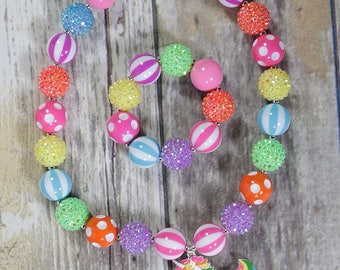 Neon Rainbow Bracelet,Bubblegum Jewelry, Unicorn Chunky Bracelet, Girls Gift, Holiday, Cake Smash, Large Beads, Princess Jewelry, Stretch