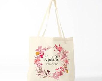 Tote bag, team bride, gift bachelorette, Isabelle, custom name.