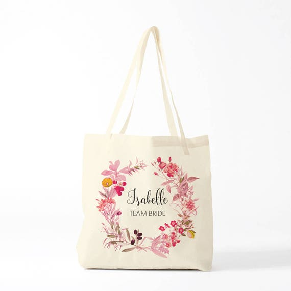 Tote bag, team bride, gift bachelorette, Isabelle, custom name.