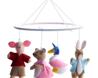 Beatrix Potter Mobile - Beatrix Potter Felt Nursery Mobile
