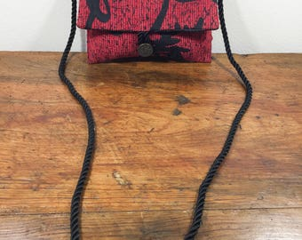 Asian Purse, Red, Black, Shoulder Bag