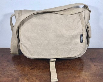 Tan Canvas Messenger Bag, Padded Laptop Bag, Shoulder Bag