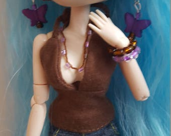Jewellery set for Pullip doll - Purple/Brown