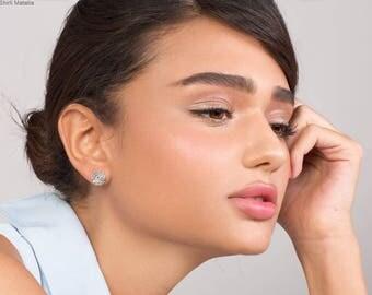 Round Stud Earrings - rustic earrings , tree earrings , silver rustic earrings , woodland earrings , gift for her, silver stud earrings