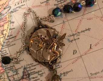 Steampunk, Steampunk Necklace, Steampunk Jewelry, Fairy, Rhinestone, Womens Necklace, Neo Victorian
