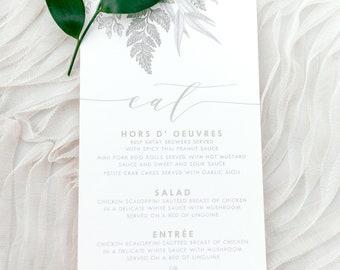 4x8 Greenery Leaves Green, Neutral Beige and Gold Printed Wedding Menu