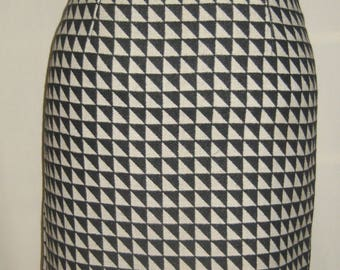 Straight skirt in OP ART black and white wool
