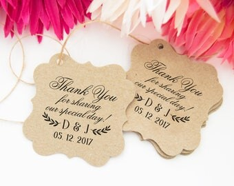 Wedding Thanks Tags, Rustic Wedding Favor Tags, Thank You Bridal Tags, 24 Wedding Thank You Favor Tags