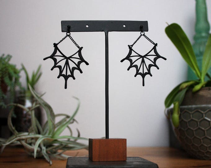 """Morticia"" Earrings in Black"