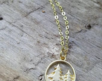I'd Rather Be Outside- Gold Pine Evergreen Tree Necklace