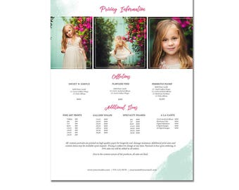 Sell Sheet - Collections  or Packages Pricing Template - Photography Marketing Template- 8.5 x 11 size, Newborns, Seniors, Families, PG002