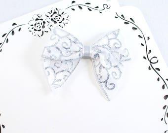 Silver Hair Bow, Glitter Hair Bow, 4 Inch Boutique Bow, White Glitter Hair Clip, Girls Silver Bow, Silver Hair Clip, Large Satin Bow