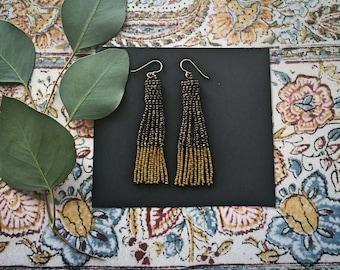 Dune...Beaded Fringe Tassel Earrings 24Kt gold beads