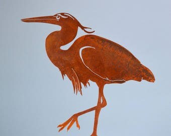 B740 Great Blue Heron Steel Bird Silhouette (13 inch) - Rusty Metal Birds