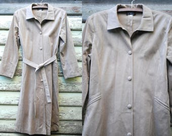 Vintage 70s Beige Jacket Soft Felt Trench Coat Long Length Boho Hippie Vtg 1970s Retro Size M-L