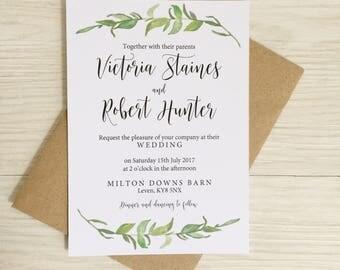 Greenery wedding invitation - Rustic wedding invitation - Calligraphy wedding invitation