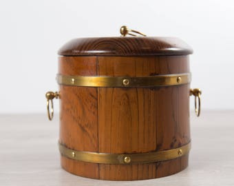 Vintage Wood Ice Bucket - Wood Grain Barrel and Brass Bucket with Lining and Tongs - Mid Century Modern Rustic Western COuntryBarware