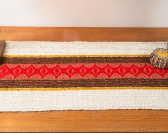 Vintage Table Runner - 1960's Mid Century Modern Red Striped Danish Scandinavian Style Textured Fabric Folk Fringed Geometric Tapestry