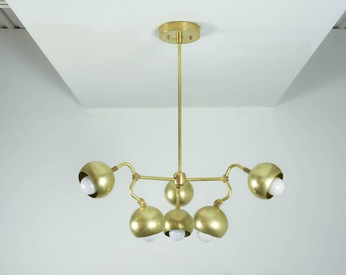Modern Chandelier Gold 6 Arm Pinwheel Bulb Brass Sputnik Mid Century Edison Industrial Light Lighting Modern UL Listed