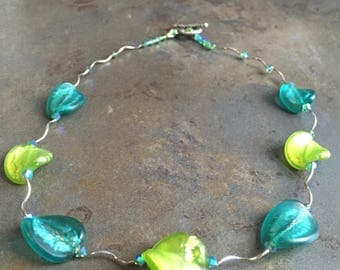 32 - Venetian glass, Swarovski crystals and sterling silver necklace