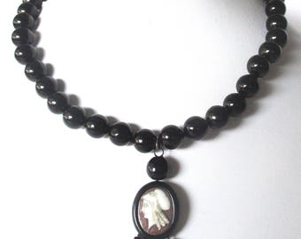 Antique Whitby Jet Choker/Necklace With Hand-Carved Shell Cameo Pendant