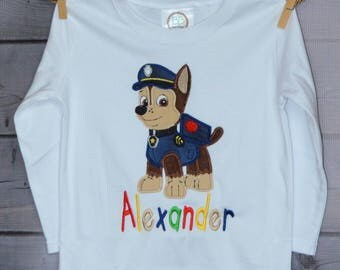 Personalized Police Puppy Dog Monogram Applique Shirt or Onesie Boy or Girl