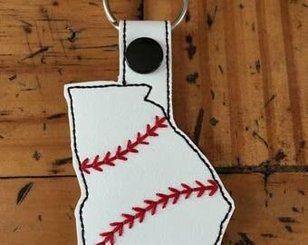 Georgia Baseball/Softball Outline Fob - In The Hoop - Snap/Rivet Key Fob - DIGITAL Embroidery Design
