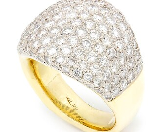 Vintage Wide Cluster Diamond Band in 18kt White & Yellow Gold 5.00ctw