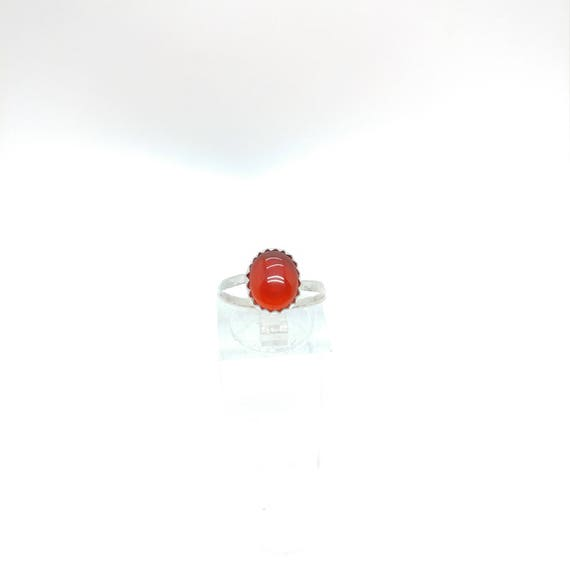 Carnelian Stone Ring | Sterling Silver Ring Sz 6.5 | Carnelian Agate Ring | Red Stone Ring | Gift for Her | Stone for Balance & Protection