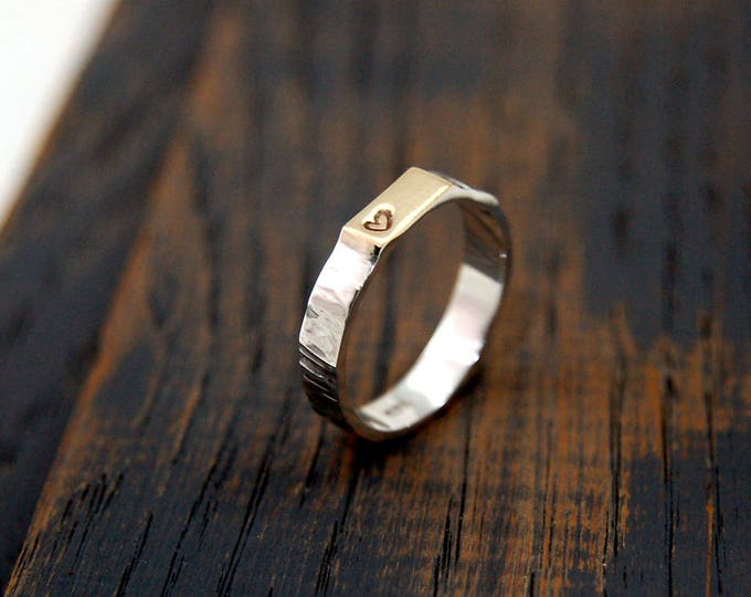 Featured listing image: Heart Stamped Ring, 9K Gold Heart Ring, Heart Hand Ring, Heart Wedding Band, Heart Wedding Ring, Stamped Heart Gold Ring, Stamped Heart Ring