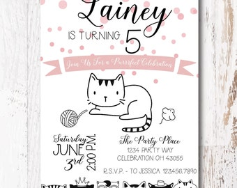 Kitty Party Invitation - Kitty Cat Party Invitation for your Cat Birthday Party