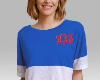 Monogram Short Sleeve Pom Pom Jersey/Over-sized Short Sleeved Jersey/Embroidered Monogram/Monogram Over-sized Shirt/Birthday/Casual Wear
