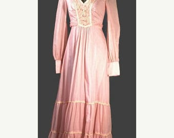 SALE Vintage 1970s Cotton Maxi. Jody T of California Bubblegum Pink Floorlength Dress Made in the USA Size S