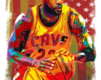 """LeBron James, Cleveland Cavaliers, Basketball Sports, Short Forward, POSTER from Original Drawing 18"""" x 24"""" Signed/Dated by Artist w/COA 2"""