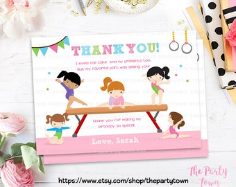 GYMNASTIC Thank you card, Printable Gymnastics thank you note, Note card Gymnastic Invite, Gymnastic Party, Printable DIY PDF