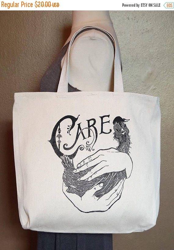 "ON SALE Tote Bag ""Care"" Black Ink on Natural Cotton"
