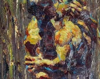 """Gay Art Painting,  Male Nude Art Painting, Gay Male Nude -- 12x16"""" / 30x40cm"""