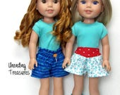 14 inch doll clothes AG doll clothes aqua top red aqua yoked skort and paperbag shorts made to fit like Wellie Wisher doll clothes