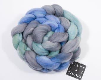 Hand Dyed Roving | 80/20 Merino / Tussah Silk Combed Top | Blue Green Gray | 100 grams | Spinning Fiber | Felting Fiber | Lady of the Lake