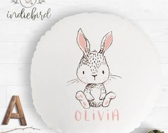 Personalised Bunny cushion, personalised round cushion, nursery cushion, girls room decor, baby gift, bunny print, woodland nursery.