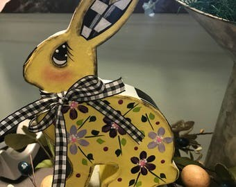 Hand Painted Paper Mache Flat Yellow bunny