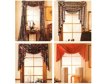 Curtain Sewing Pattern, Jabot, Valance, Swag, Rosettes, Panel, Home Decor