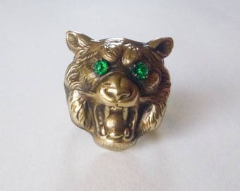 Art Nouveau gold filled lion head ring emerald green paste eyes men's unisex conversion ring size 10