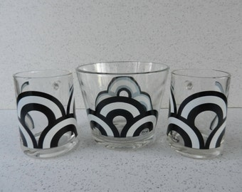 Mod 3 Piece Black and White Colony Snack Bowl and Mug Set, Ice Bucket, Cup and Bowl Set