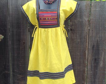 Vintage Mexican style yellow tunic dress with colorfull detail.