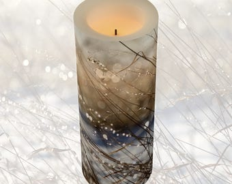 Nature's Bling 3x8 LED Pillar Candle / Flameless, Flickers, Flickering / Perfect Holiday Décor