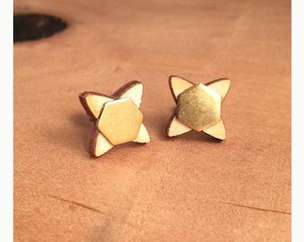 Handmade laser cut wood and brass flower titanium post earrings. Brass flower earrings. Flower titanium post earrings. Flower post earrings.