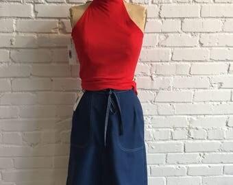 1970s Navy Wrap Skirt // Navy Wrap Skirt with Pockets // Koret 70s Skirt