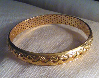 Floral Vine Carved  14k  Gold Filled Bangle  Bracelet